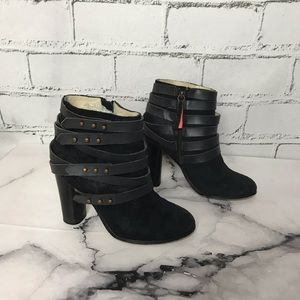 Joe's Black Suede Booties Studded Leather Straps